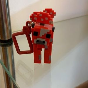 Red Minecraft mooshroom keychain